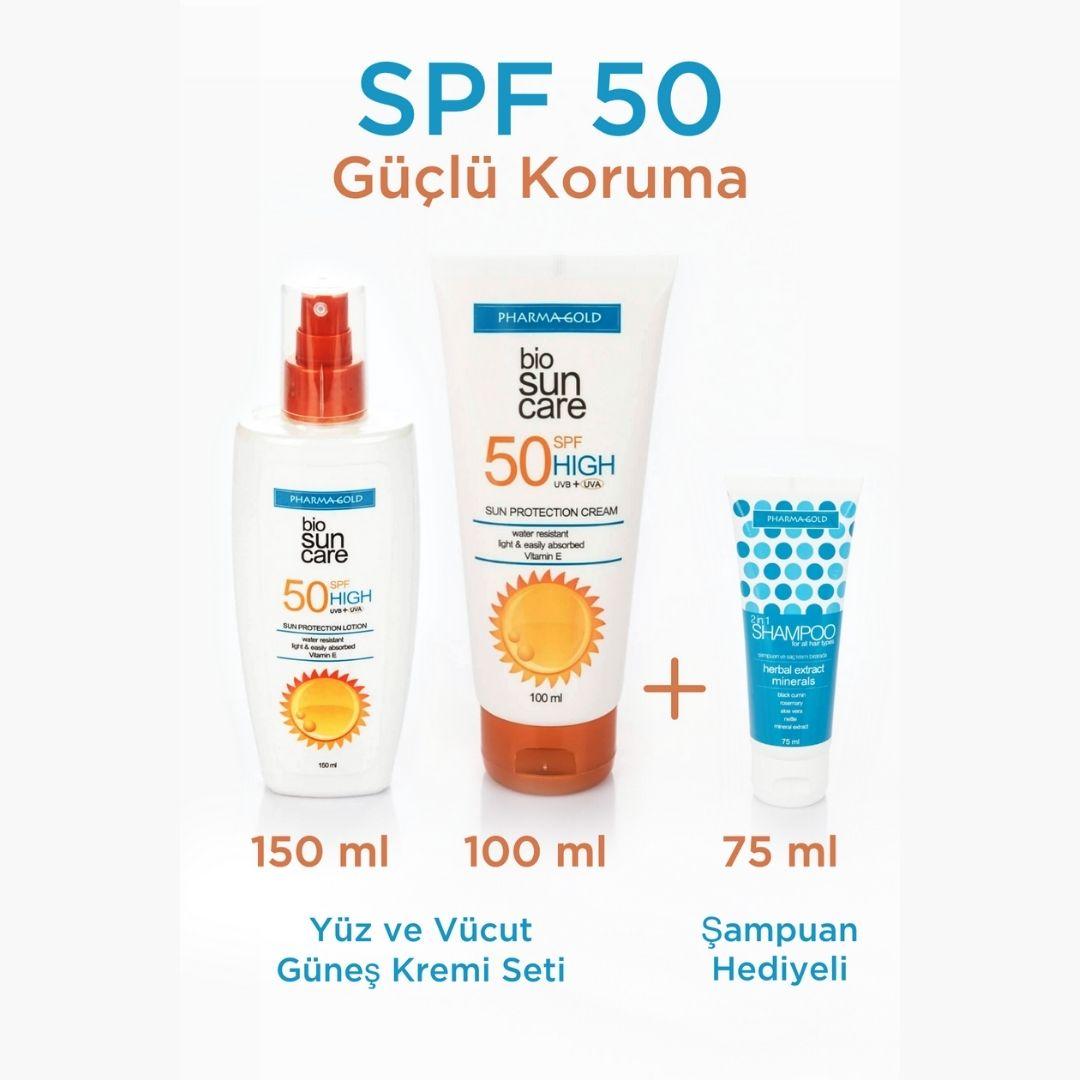 SPF 50 Yüz ve Vücut Güneş Kremi Seti + 2si arada Şampuan